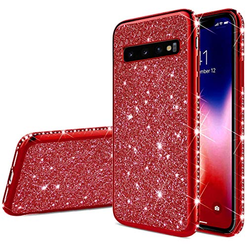 Herbests Kompatibel mit Samsung Galaxy S10 Hülle Glitzer Mädchen Schuzhülle Kristall Bling Glitzer Strass Diamant Überzug Ultra Dünn Durchsichtige Transparent Silikon Handyhülle Tasche,Rot