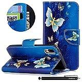 Huawei P20 Lite Handyhülle,HUDDU Hülle für Huawei P20 Lite/NOVA 3E Schutzhülle Blau Tasche PU Leder Wallet Case Ständer Kartenfach Magnetisch Extra Dünn Brieftasche Flip Cover - Goldener Schmetterling