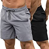 Coofandy Sport Shorts pour Hommes 2 Pack Sport Séchage Rapide avec Short de Course Séchage Rapide Pantalon Court avec Poches