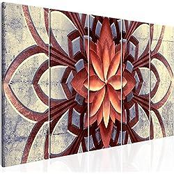 murando - Cuadro Mandala 200x80 cm - impresión de 5 Piezas - Material Tejido no Tejido - impresión artística - Imagen gráfica - Decoracion de Pared - Flores Concreto f-A-0677-b-m