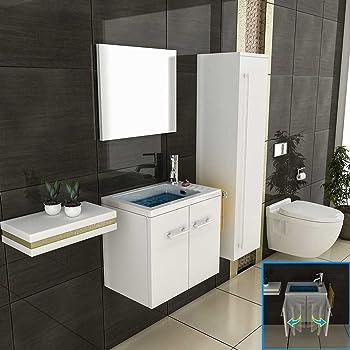 bad1a waschbecken mit unterschrank weiss spiegel. Black Bedroom Furniture Sets. Home Design Ideas