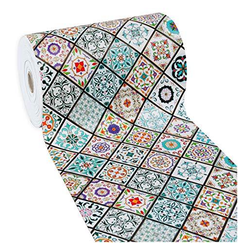 Emmevi tappeto cucina piastrella maiolica antimacchia retro antiscivolo passatoia varie misure multiuso bagno mod.mendy dis.10 50x270