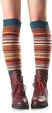 Hunputa Women's Crochet Bohemia Trim Cotton Knit Leg Warmers Boot Socks