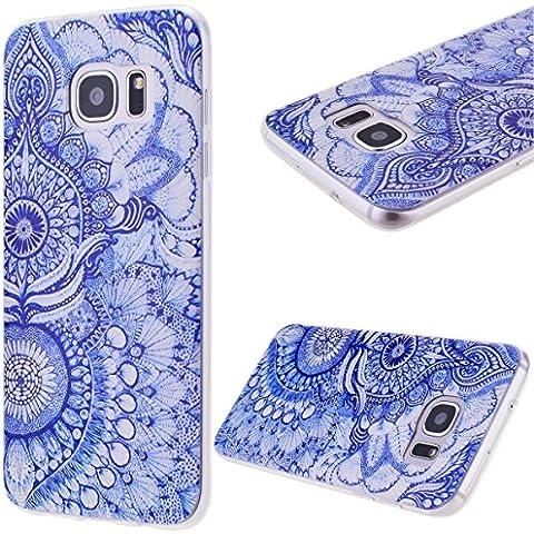GrandEver Gel Silicone Custodia per Samsung Galaxy S7 Edge,UltraSlim Morbido TPU Back Cover Bumper, Flexible Soft Protettivo Case Copertura Disegno Speciale - Fiori Blu Tribale