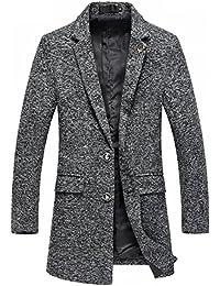 Herren Einfarbige Sportjacke Wolle-mische Winterjacke Blazer für Freizeit