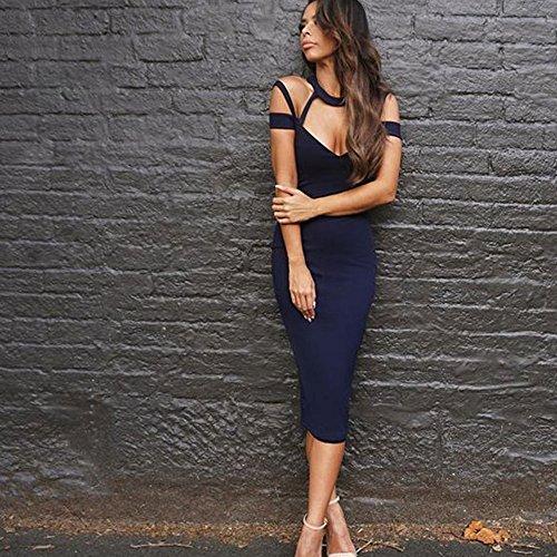 HLBandage Halter Neck Cut Out Backless Midi-calf Rayon Bandage Dress Bleu
