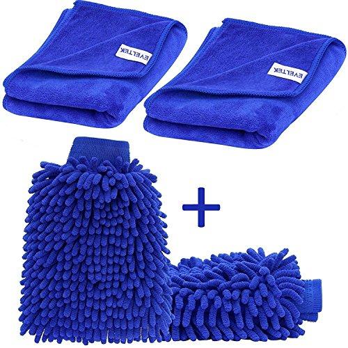 EVELTEK (2 pezzi) Auto Wash Mitt e(2 pezzi) Panno Microfibra , Autolavaggio Guanto Pulizia Lavare Guanti con Auto per pulizia lucidatura asciugamano(Blu) (30x70cm)