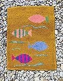 alfombra rectangular de lana bordada a mano