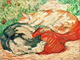 POSTERLOUNGE Canvas print 80 x 60 cm: Cats on a red cloth by Franz Marc/akg-images - ready-to-hang wall picture, stretched on canvas frame, printed image on pure canvas fabric, canvas print