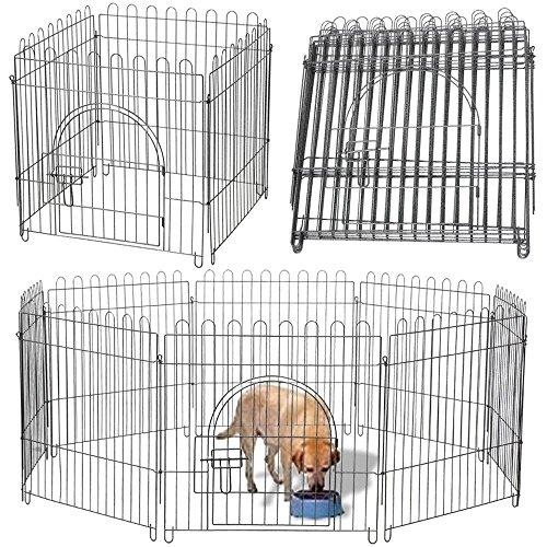 Yaheetech 8-TLG Welpenlaufstall Laufgitter Freilaufgehege Welpenzaun für Hund, Katze, Welpe, Kaninchen, mit Tür, je Panel: ca. 61 x 61 cm