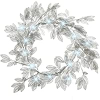 WeRChristmas Pre-Lit Wreath with 48 White LED Lights Christmas Decoration - 60 cm, Silver Leaf