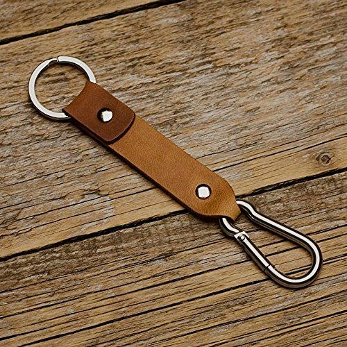Braunes und hellbraunes Leder Karabiner Schlüsselanhänger Ringhalter Klammer Schlüssel Karabiner-haken Geschenk Schlüsselband Anhänger -