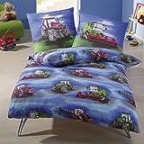 IDO Biber Kinder Bettwäsche 2 teilig Bettbezug 135 x 200 cm Kopfkissenbezug 80 x 80 cm Traktor Kinder