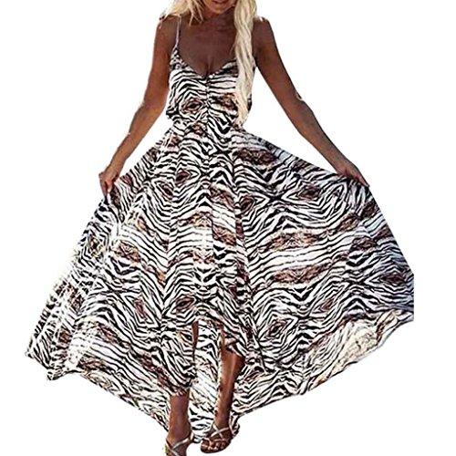 feiXIANG Damen Partykleid frau Druckkleider sommer unregelmäßigen boho Ladies Ärmelloses Kleid mit Leopardenmuster kleid lange maxi - kleider V-Ausschnitt Clubwear (S, Multicolor) (Schule V-ausschnitt)