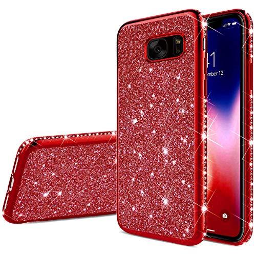 SainCat kompatibel mit Samsung Galaxy S7 Hülle Silikon Glitzer Ultra Dünn mit Strass Diamant Überzug Schützhülle Stoßfest Clear Glitzer Weicher TPU Bumper Handyhülle für Samsung Galaxy S7-Rot