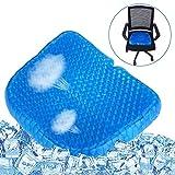 Gel Sitzkissen, Memory Foam Sitzkissen, Massage Pad Atmungsaktive elastische Stützsitze für den unteren Rücken, Steißbein und Ischias Relief, Geeignet als Reisekissen und Bürostuhl - Blau
