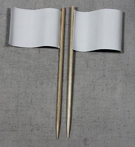 (Party-Picker Flagge Uni Weiß Papierfähnchen in Profiqualität 50 Stück Beutel zum selber beschriften)