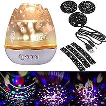 Proyector de Estrellas Estrella Luz Luz nocturna 360grados 4formas romántica noche Proyección mesa giratorio estrellas lámpara de proyección para Hogar, Dormitorio, Dormitorio Infantil, Navidad, Boda, cumpleaños, Party