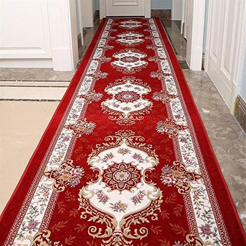 Ommda Teppich Läufer Flur Vintage Antiskid Küche Schlafzimmer Home Niederflor Flurläufer 8mm Burgund 100x350cm -