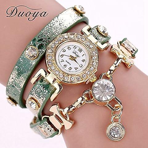 pigglyville (TM) 77Fashion Nuovo braccialetto orologi da polso di lusso in pelle Dress Orologi da Donna Fashion Catena Lunga Casual Orologio da polso xr1068, Green