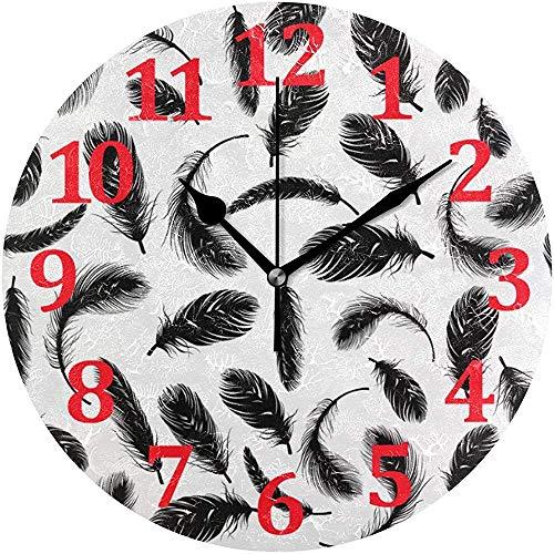Mitta Yane Round Clock Reloj De Pared De Plumas Negras Decorativo,Reloj De...