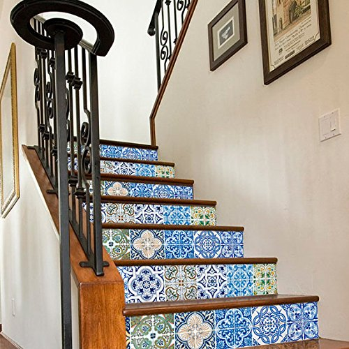 Fliesenaufkleber Treppen Portugiesische Deko Ideen Pack N2 (Packung mit 24) - 15 x 15 cm