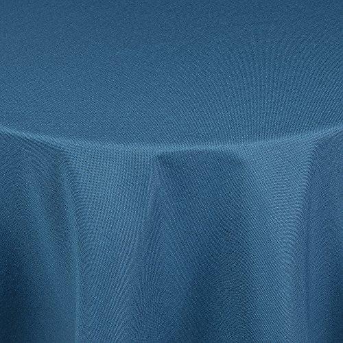 Tischdecke in Leinen-Optik - Outdoor- bzw. Gartentischdecke - Ideal für Garten oder Terrasse Rund 170 cm blau