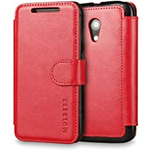 Funda Motorola Moto G (2ª Generación) 2014, Mulbess Motorola Moto G (2nda Generación) Wallet Case [Rojo] - Funda Cuero con Ranuras Cierre Magnético para Motorola Moto G 2nd Gen