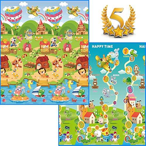 GLOBOLANDIA SRL 92716B Tappeto Double Face 180 x 150 Ripiegabile con Sacca Inclusa Maxi Animali Novità