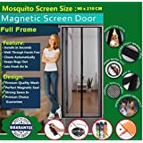 Mosquito Door Net / Door Curtain / Magnetic Door Net Curtain-Magnetic Screen Door, Mesh Curtain - Mosquito Net Keeps Bugs Out, Lets Cool Breeze In - Premium Quality - Toddler And Pet Friendly - Fits Doors Up To (Size:90 Cm X 210 Cm ) ( Weight - 635 Gram)