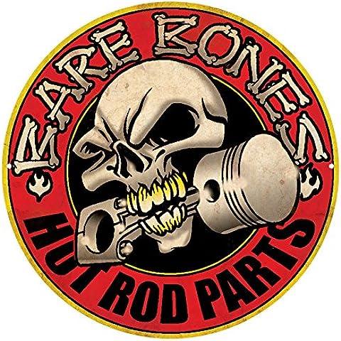 2x # Bare Bones–Hot Rod Parts # 13cm Skull pistón Hot Rod Calavera Cruz de Hierro ratlook Consejo Oldschool kerosin Hot Rod Decal Harley Tuning Pegatina para coche moto Pick