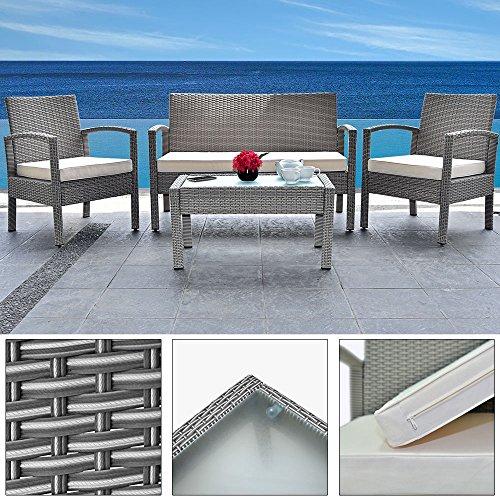 Deuba Poly Rattan 4+1 Lounge grau | 7cm dicke Sitzauflagen creme | 5 mm Glastischplatte |...