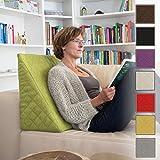 Sabeatex® Rückenkissen, Keilkissen für Couch und Sofa, Lesekissen für bequemes Sitzen. 5 Unifarben für trendiges Wohndesign. Louge-oder Palettenkissen Größe 60 cm x 50 cm x 30 cm (grün)