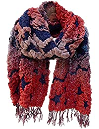 Emmy Puffy Knit Scarf Wrap Stole Wrap With Fringe Red Blue