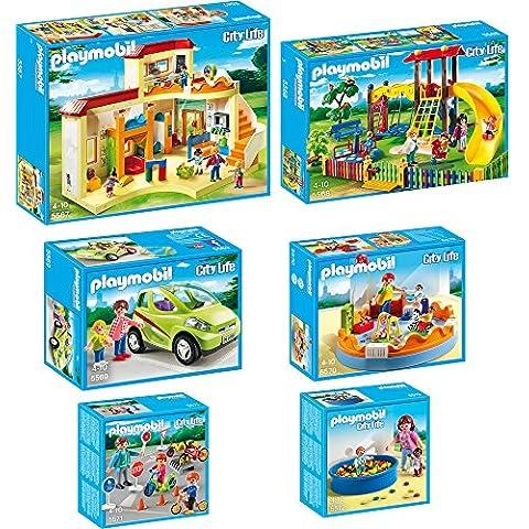 Playmobil City Life Set de 6 partes: 5567 jardín de infancia + 5568 Parque infantile + 5569 Coche biplaza + 5570 Grupo de guardería + 5571 Niños con agente + 5572 Piscina de bolas para