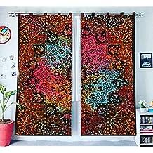 Cortina de anillas y mandala tipo hippie hindú con ojales para ventana 706b2eedc019