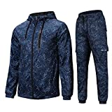 AIRAVATA Hommes de Mode Polaire Sports Jogging Survêtement Top & Bottoms Set, Bleu8, XL