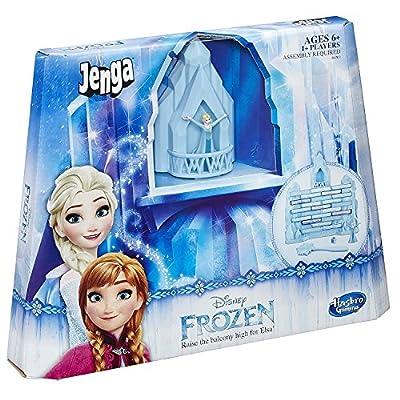 Jenga 100/5000 Hasbro B4503 Juego Familiar - Disney Frozen Elsa - Levanta el balcón Juguete - Stack Tumble Tower por Hasbro