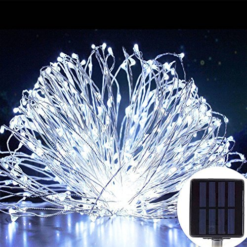 Miya Solar String Lichter, Miya Solar Garten im freien Sternenhimmel Lichter wasserdicht, 10m 33ft 100 LEDs String Lichter für Weihnachtsbaum Patio Holiday Party Hochzeit Dekoration-Weißes Licht