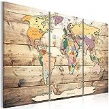 murando Impression sur toile intissee 120x80 cm 3 parties tableau tableaux decoration murale photo image artistique photographie graphique carte du monde continent bois Carte du Monde k-C-0035-b-f