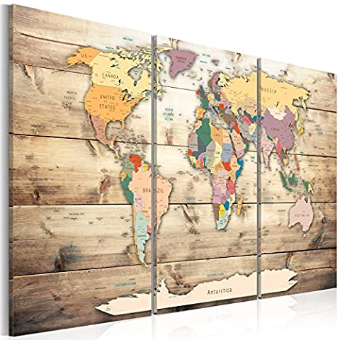 murando® Image 60x40 cm (23,7 by 15,8 in) - 3 colours to choose - Image printed on canvas - wall art print - Picture - Photo - 3 pieces - world map wood k-C-0035-b-f