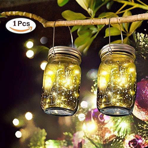 Lampada Solare Luce Solare Esterna Mason Jar String Lights 20 LED Impermeabile Lampadina Atmosfera per Cene, Giardino, Feste, Camera da Letto, Luce Bianco Caldo [Classe di efficienza energetica A]