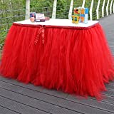 hangnuo hecho a mano lazo Nylon Net Yarn cumpleaños para mesa de Navidad gamuza de falda para postre decoración para boda fiesta, tela, Rojo, 1yd(91.5cm)