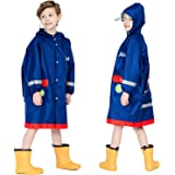 Baogaier Poncho Impermeable Niños Impermeables Unisex Chubasqueros Capa Chaquetas de Lluvia Abrigos Traje de Charco Infantil
