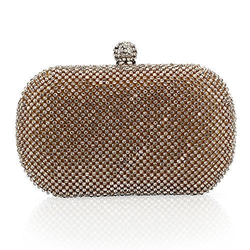 Myleas Clutches für Damen Abendtasche Unterarmtasche Partybag Handtasche Schultertasche Gold