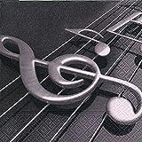 20 Serviette Violine Musik 33x33 cm, 3-lagig, 1/4 gefaltet auf 16,5x16,5 cm