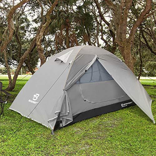 Bessport Zelt 1 Personen Ultraleichte Camping Zelte 3-4 Saison Kuppelzelt Kleines Packmaß, Wasserdicht PU 3000mm, Sofortiges Aufstellen für Trekking, Outdoor, Festival (Hellgrau)