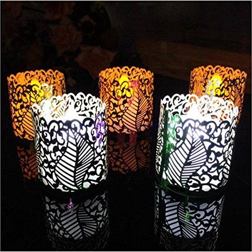 ZHENWOFC 6 UNIDS DIY Tea Light Candle Holders Lampshade Votive Wedding Party Table Decor Papel de La Vendimia Luz Interior