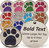 Personalised Engraved 32mm Glitter Paw Print Tag BOLD Contrasting Text, LARGE DOG Pet ID Tags (Red)