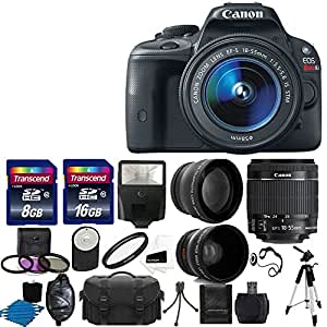 Canon EOS Rebel SL1 18.0 MP CMOS Digital SLR Full HD 1080 Video Body with EF-S 18-55mm IS STM Lens With (58mm 2x Professional Lens ,High Definition 58mm Wide Angle Lens , Auto Flash ,Uv Filter Kit with 24GB)